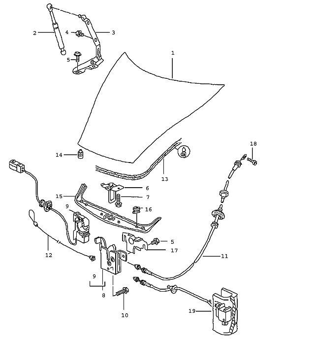 Porsche Boxster/986 1997-2004 Hood release actuator 01-