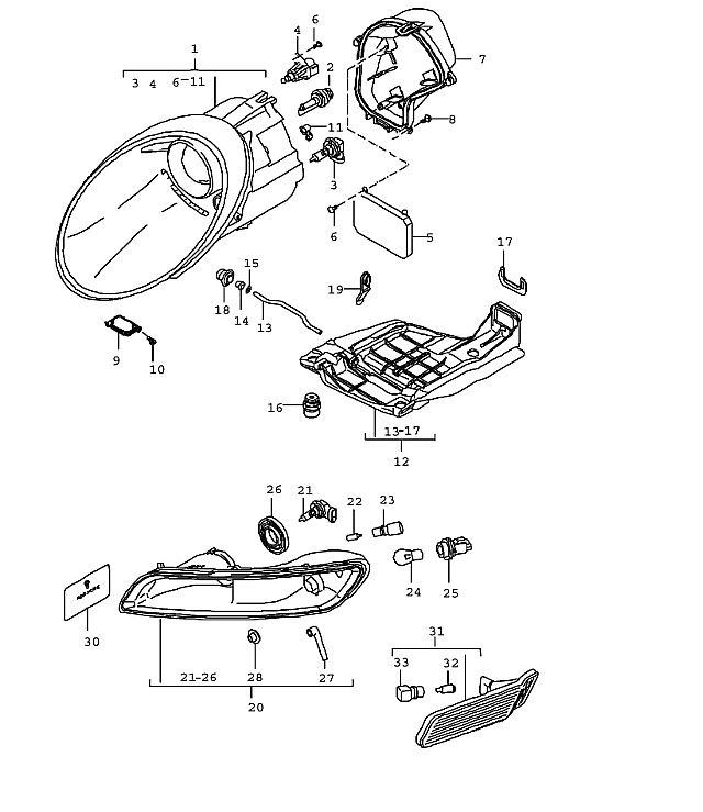 Porsche 997 2005-Pres Headlamp