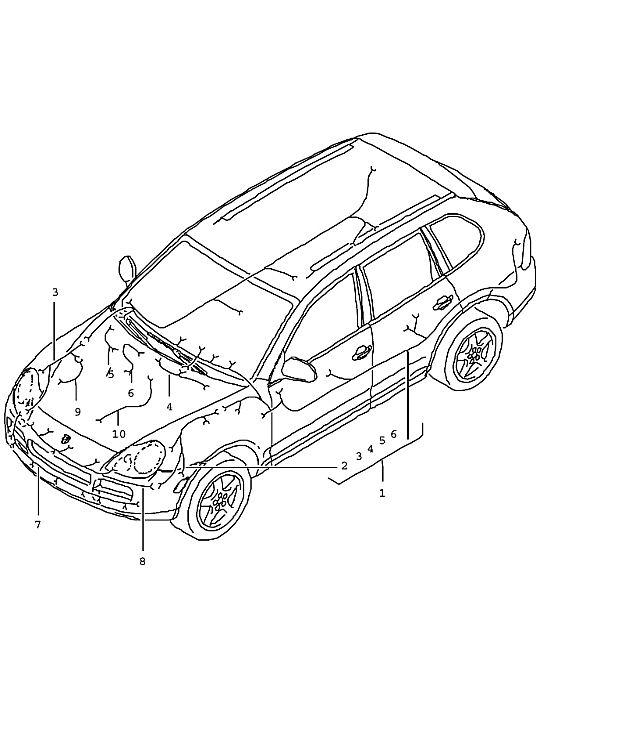 Porsche Cayenne Wiring harness front trunk i7al/i7ak f
