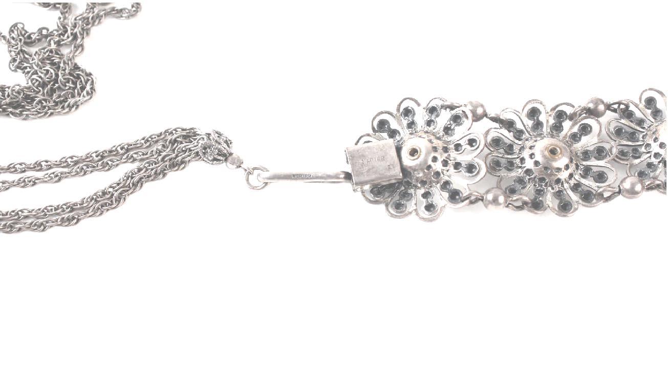 Napier Crystal Silver Plate Filigree Design Necklace