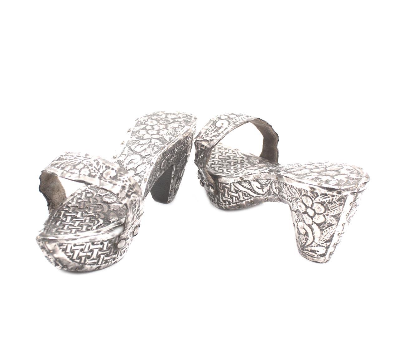 Vintage Silver floral Repousse Shoes Lacquered Wooden