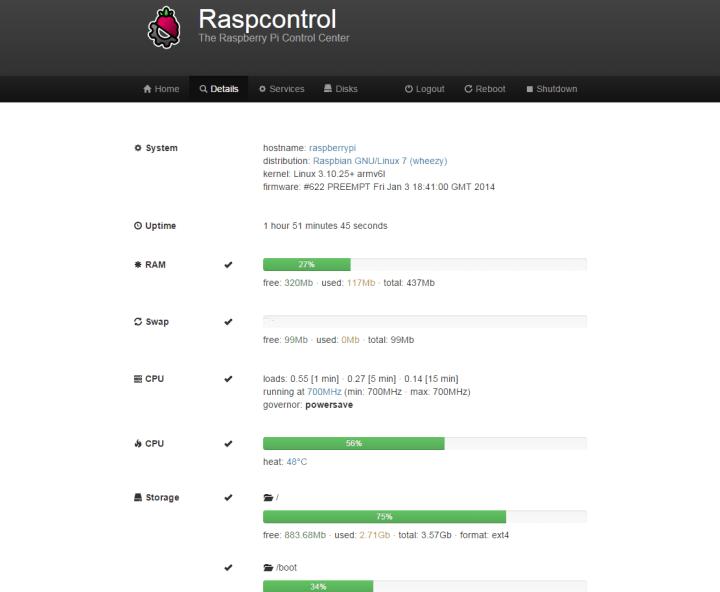 Screenshot Raspcontrol