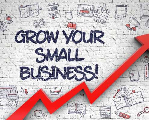 Grow Your Small Business Drawn on White Brick Wall. 3d.