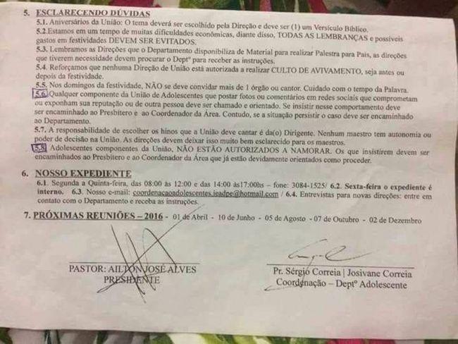 Documento é assinado pelo presidente da Assembleia de Deus em Pernambuco, pastor Airton José Alves, e sustentado pela coordenação do Departamento de Adolescentes (Foto: Reprodução/Facebook)