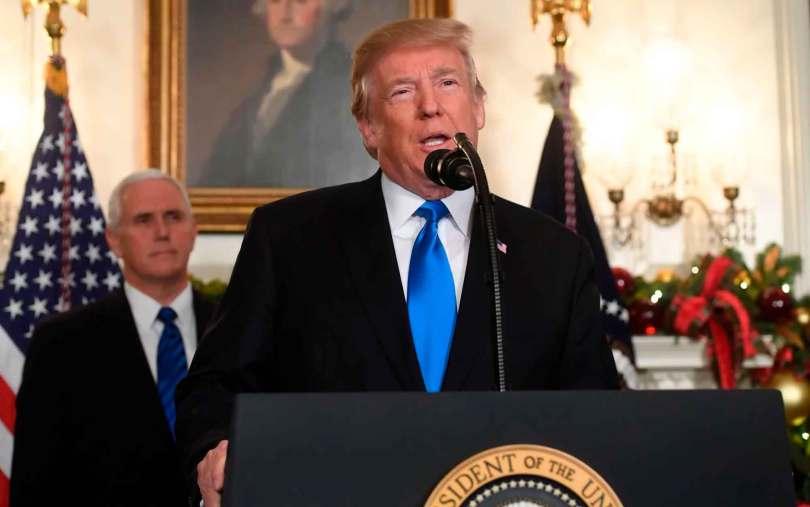 Donald Trump durante o anúncio do reconhecimento de Jerusalém como capital de Israel, na Casa Branca. (Foto: Saul Loeb/AFP)