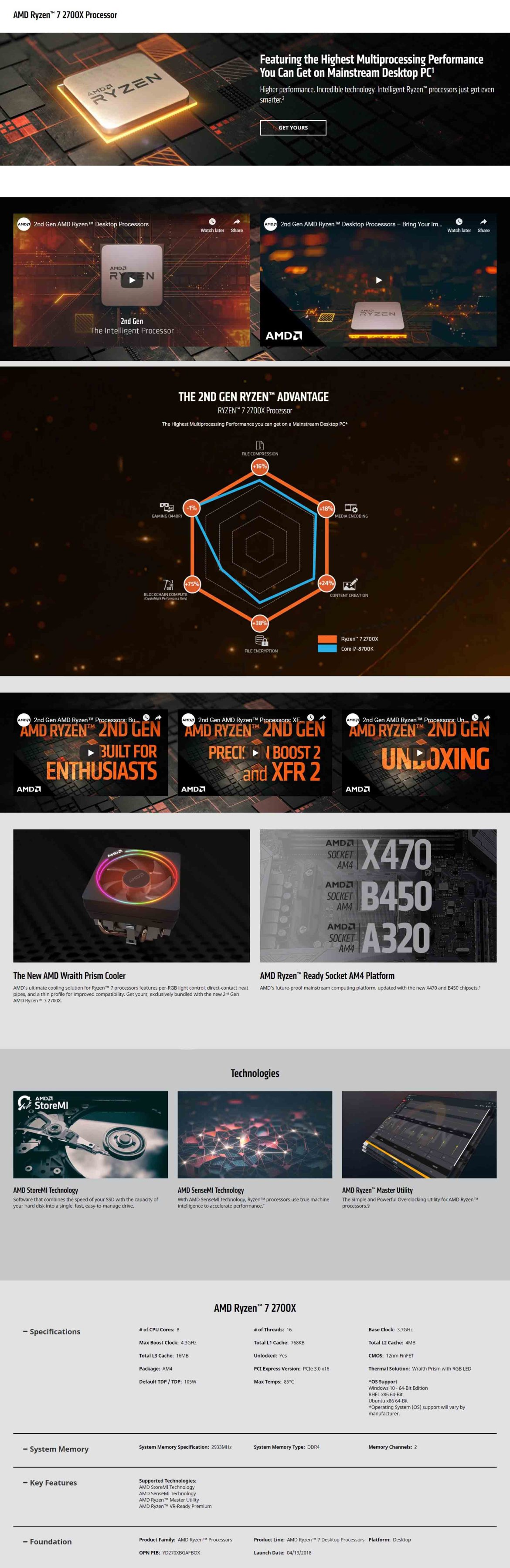 AMD Ryzen 7 2700X Desktop Processor With Highest Multiprocessing Performance