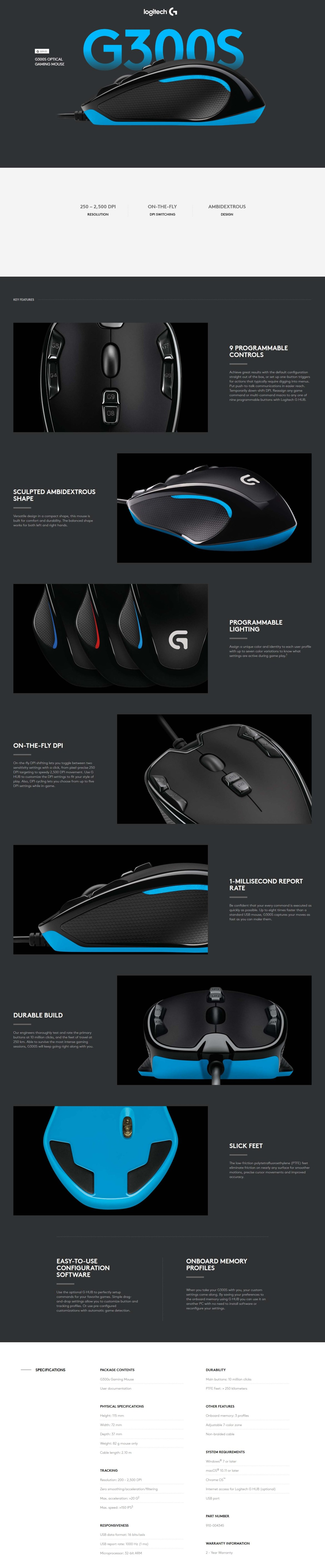 Logitech G300s Optical Gaming Mouse - Product No: 910-004347