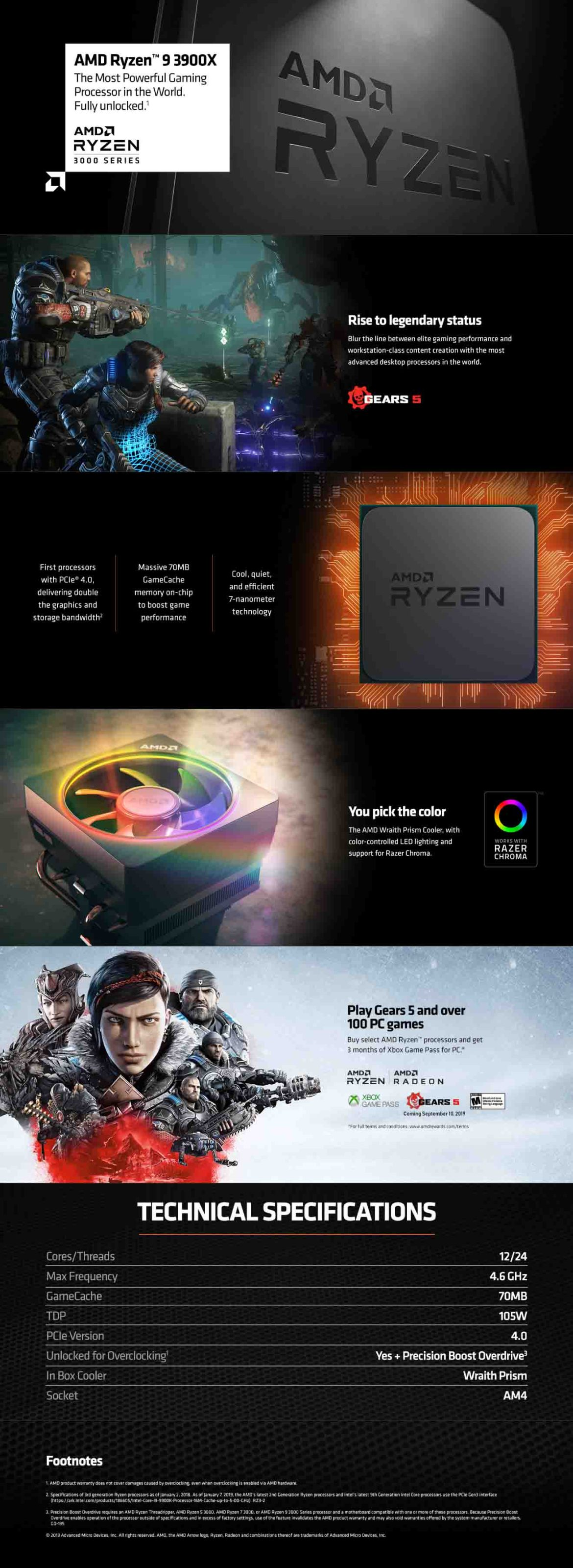 AMD Ryzen 9 3900X 12 core, 24-Thread Unlocked Desktop Processor With Wraith  Prism RGB LED Cooler