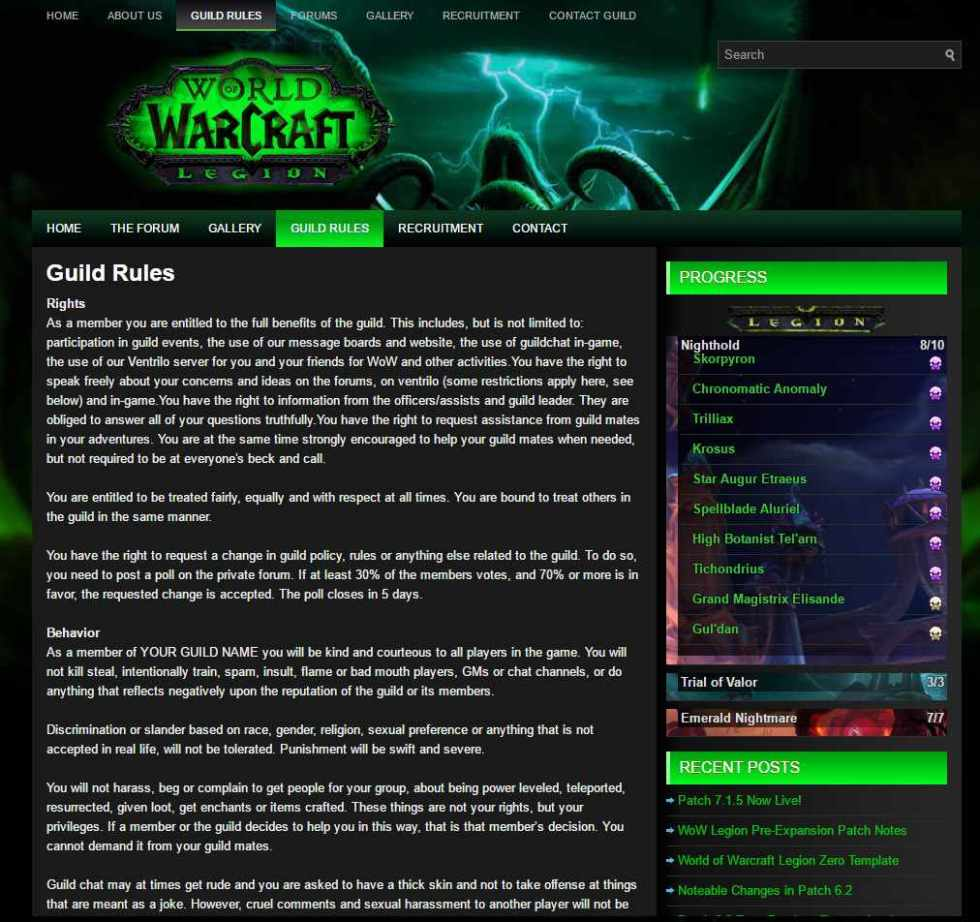 Guild Rules wow wordpress module