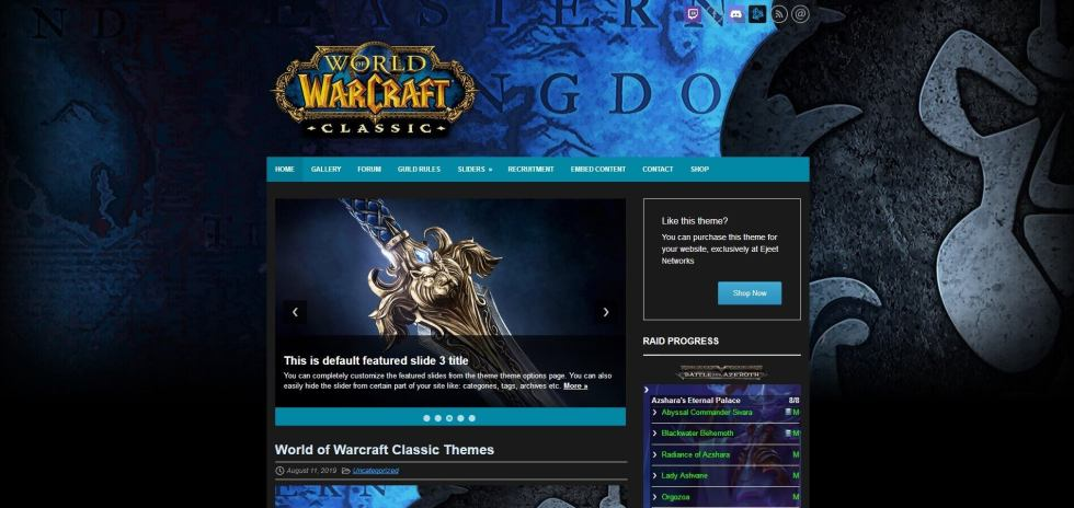 wow classic blue the best wordpress theme for gamers