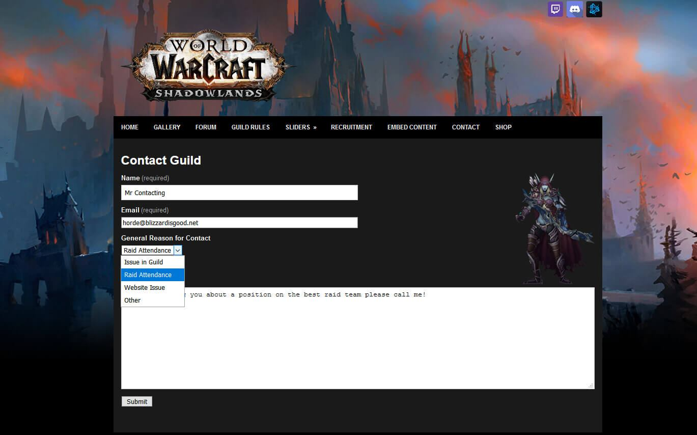 Shadowlands Guild Contact Forms