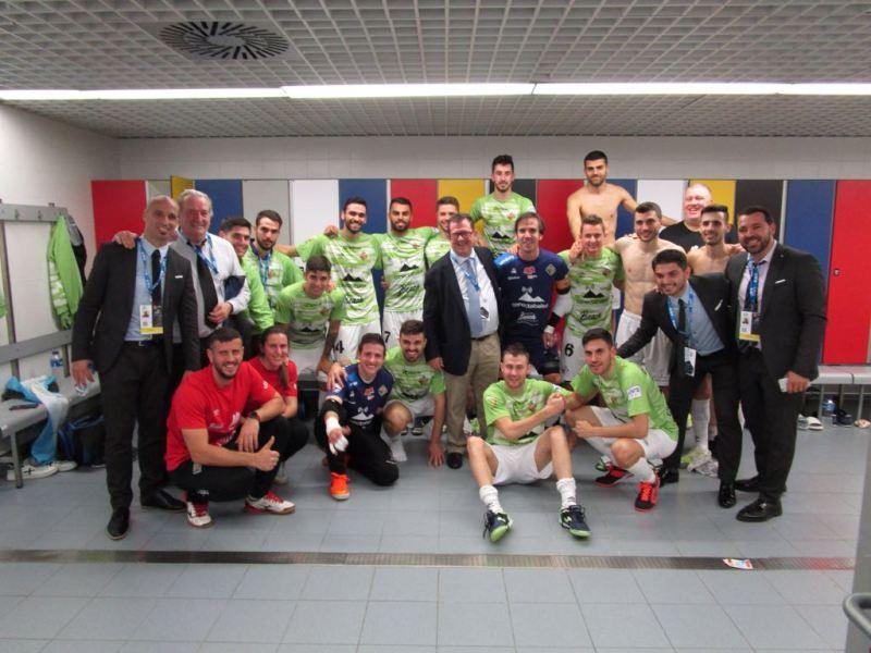 Alegria de Palma Futsal tras el 1-0. Foto: Palma Futsal