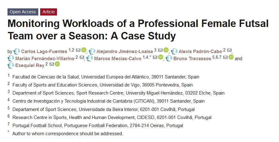 """Estudio de """"Monitorización de las cargas de trabajo de un equipo profesional de fútbol sala femenino durante una temporada"""""""