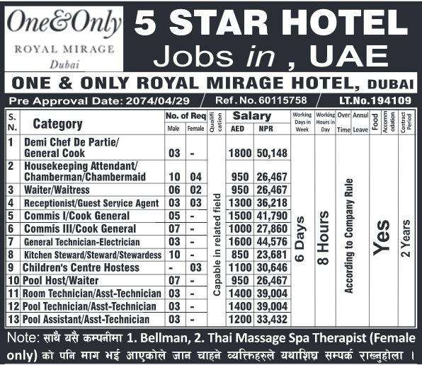 Five Star Hotel Job Demand From Dubai UAE