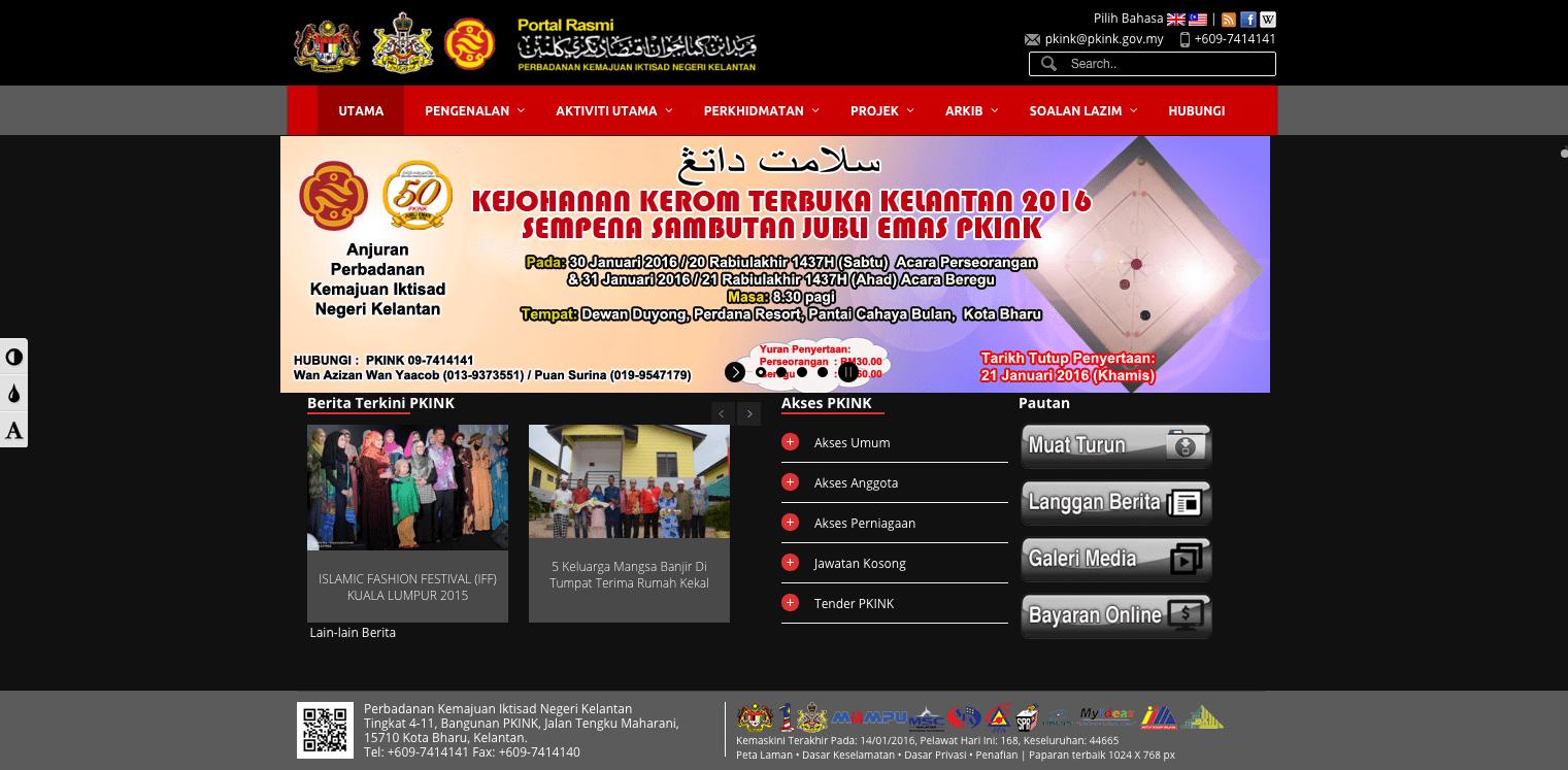 Laman Web Perbadanan Kemajuan Iktisad Negeri Kelantan PKINK