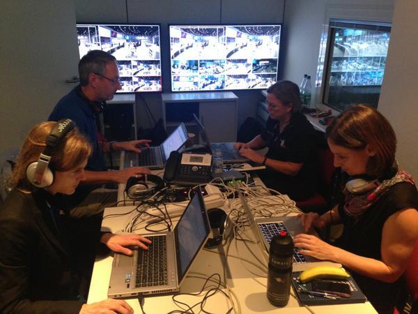 Social media team at Rosetta #cometlanding 2014