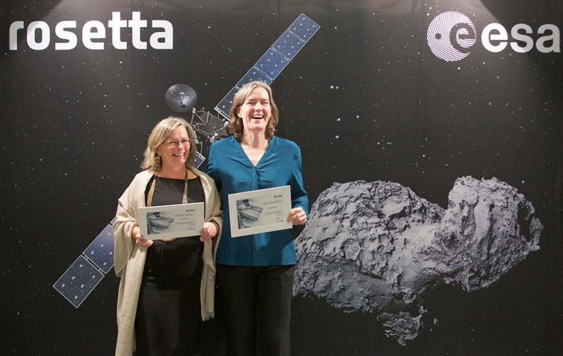 EJR-Quartz co-director Erica Rolfe is the Chief Publisher for all of ESA's online channels. Maria Bennett is Chief Social Media Publisher for ESA. These two women have countless years of science communication experience between them!