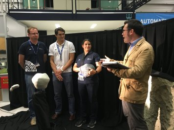 Sean and AIM scientists and engineers during the Facebook LIVE demonstration of the physical asteroid model being used for the mission's camera assessment. At ESTEC, the Netherlands.