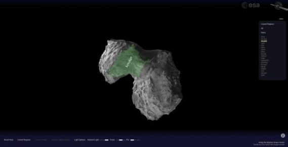 The comet viewer allows you to explore comet 67P.