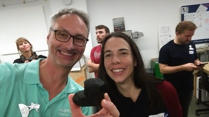 Daniel Scuka grabs a selfie with SpaceUP Barcelona event manager Marta Lebron aka @MLbluespace and a small version of comet 67P, 3D printed at Tinkerers FabLab. Credit: D. Scuka