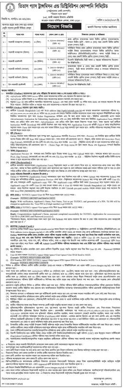 Titas Gas Transmission and Distribution Company Limited Job Circular 2018 2