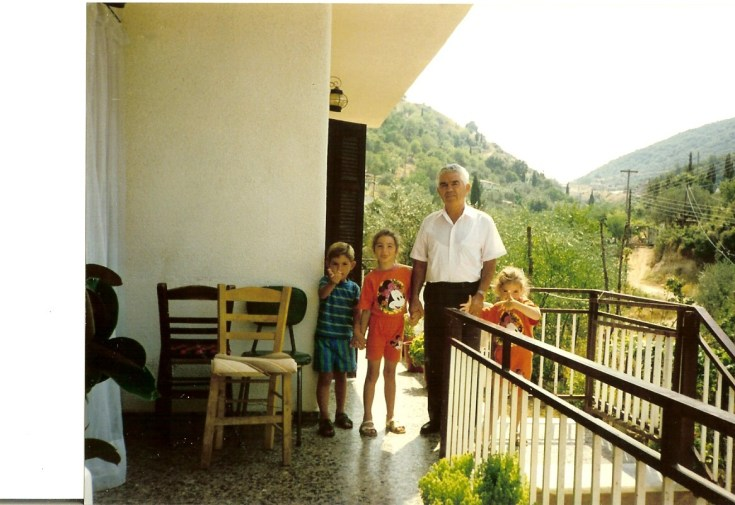 Me, my sister and cousin with Papou
