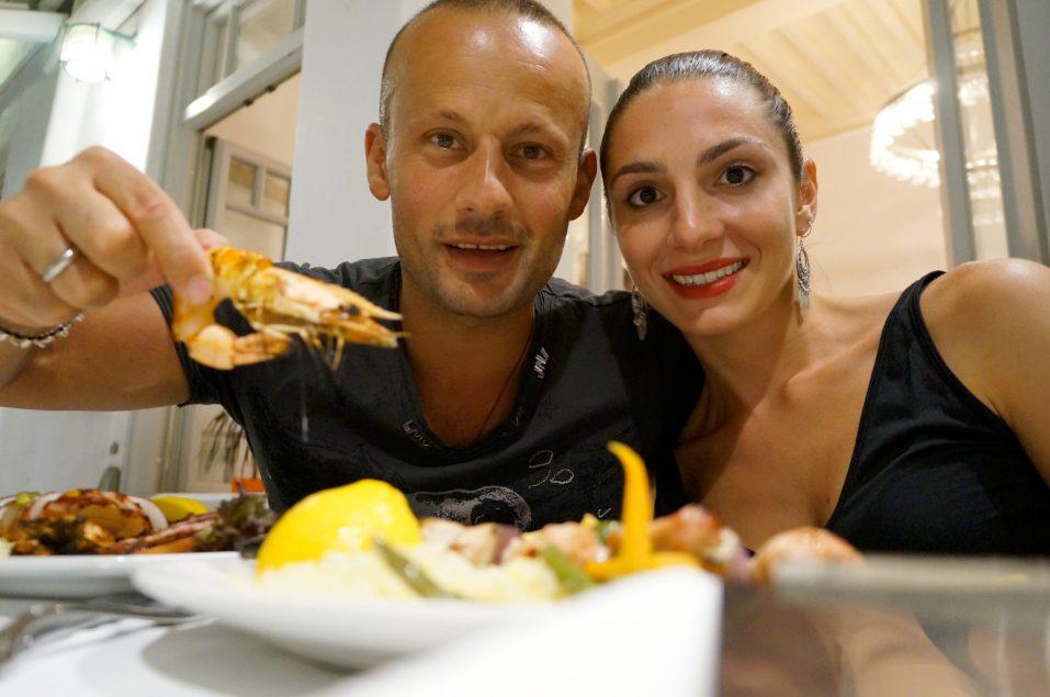 At Nikos Fish Taverna in the town