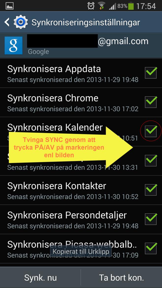 Tvinga Google Kalender Sync