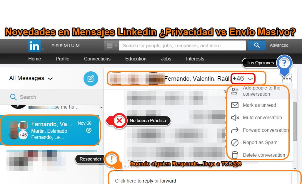 Novedades Mensajes en Linkedin