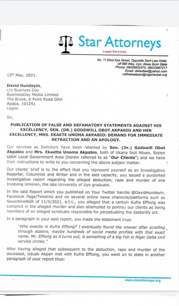 Sen. Akpabio Threatens To Take Legal Action Against The Jounalist Who Investigated Iniubong's Murder