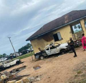 BREAKING: Assailants Invade Police Station With Explosives, Destroy Vehicles