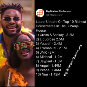 BBNaija Season 6: Top 10 Richest Housemates Currently