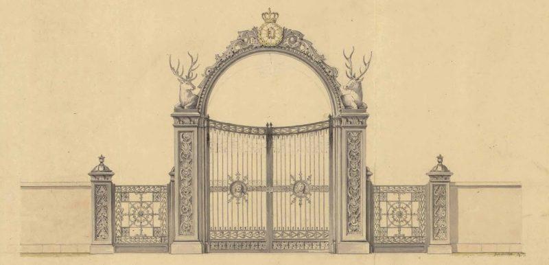 Portalen till Kungliga djurgården i Stockholm numera placerad till vänster om Djurgårdsbron
