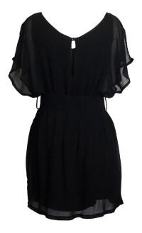 Jr Plus Size Split Back Chiffon Dress Black | eVogues Apparel