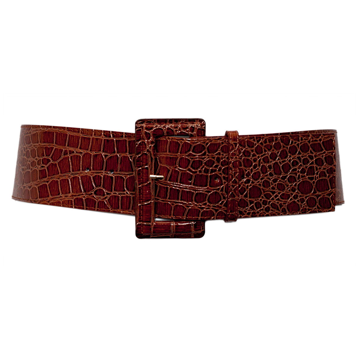 Plus Size Croco Print Patent Leather Belt Brown Photo 1