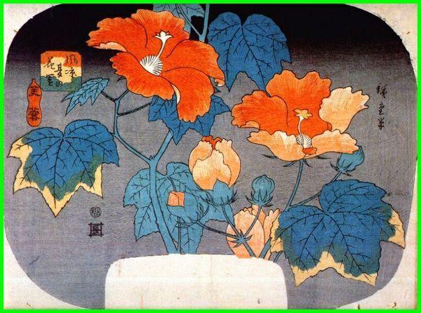 lukisan bunga jepun, gambar lukisan bunga Hibiscus