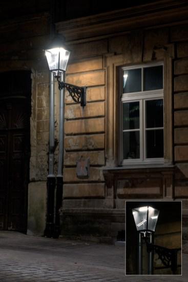 Starinski kandelaber sa neprivlačnim refleksijama LED sijalica pretjeranog intenziteta u Streljačkoj ulici