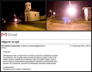 Reflektor kod crkve u Dubici