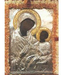 Απεικονίζεται η είκονα της Παναγίας της Λιαουτσιάνισσας και στην αγκαλιά της έχει τον Ιησού