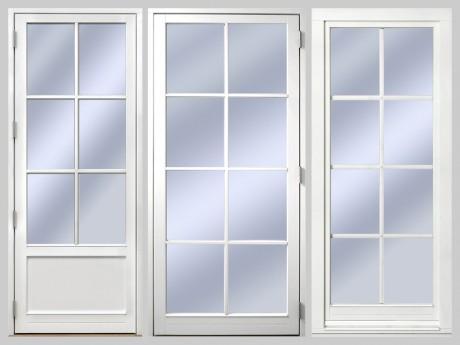 1. Utåtgående Sverige Fönster fönsterdörr med äkta wienerpsröjs i trä WSP 2:1 2. Utåtgående Sverige Fönster fönsterdörr med avtagbar spröjs SP3:1 3. Inåtgående Europa Fönster fönsterdörr med aluminiumspröjs mellan glasen ASP3:1