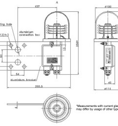 layout and dimensions of the led obstruction light e593 fa2g1 glass cupola connection box with two cable input ports  [ 1417 x 1071 Pixel ]