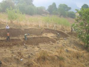 Digging trenches along contour lines
