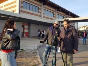 Marco Chiarini durante le riprese