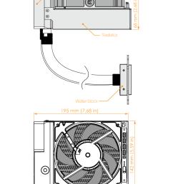 technical specifications dimensions 195 x 142 x 68mm l x w x h fan type ek vardar f2 140er predator edition 480 1600rpm tube length 400mm 15 75in  [ 830 x 1075 Pixel ]
