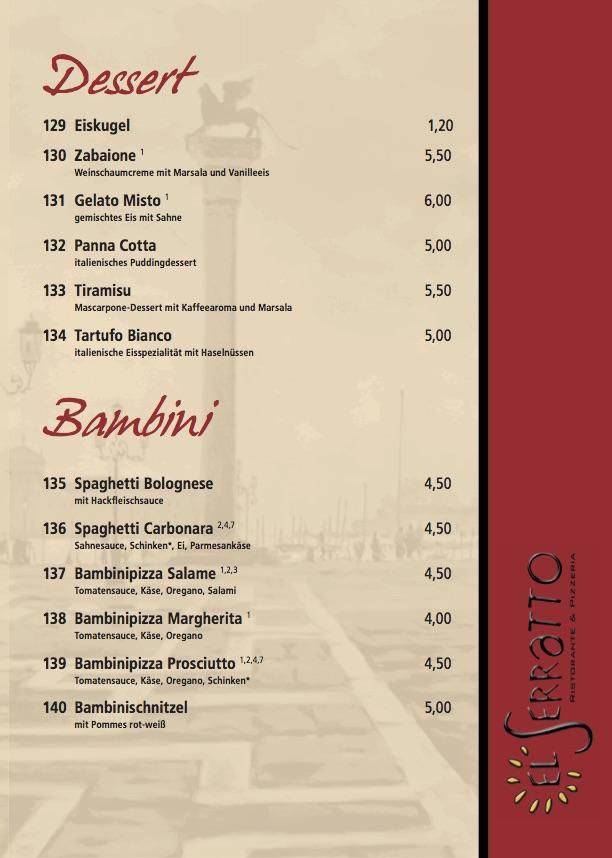 Speisekarte vom El Serratto  Ristorante  Pizzeria