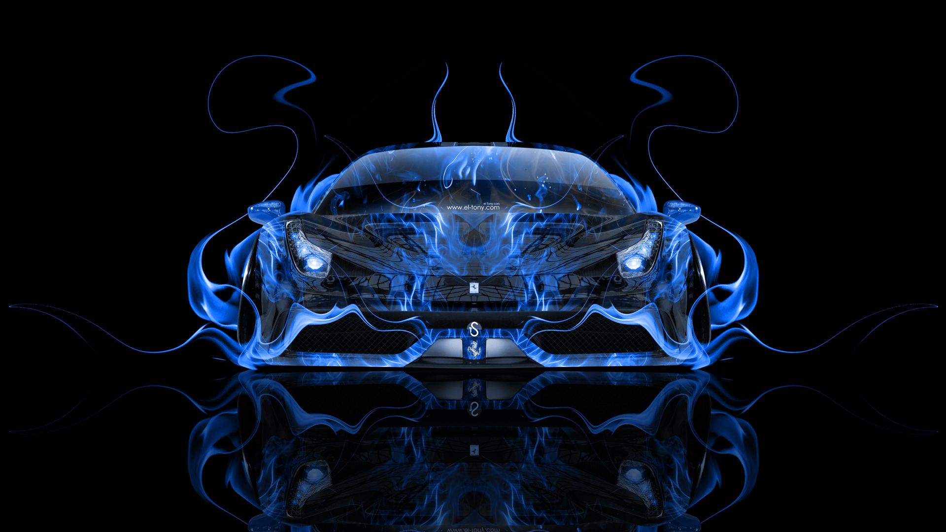 Ferrari 458 Italia Front Fire Abstract Car 2014 El Tony