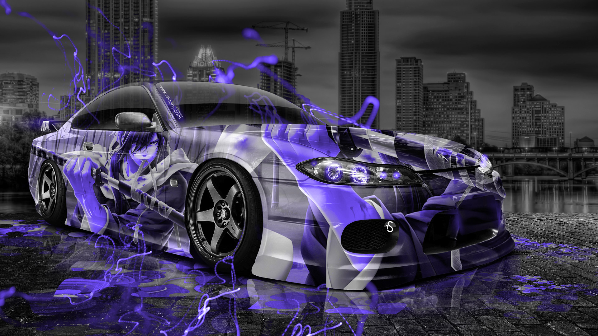Jet Black Iphone Wallpaper Nissan Silvia S15 Jdm Anime Aerography City Car 2015 El Tony