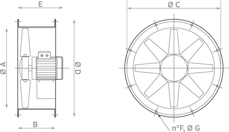 Ašiniai kanaliniai ventiliatoriai Axia AI HP ≤24000 m³/h