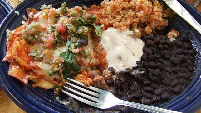 Mexico-chilaquiles-beans-rice