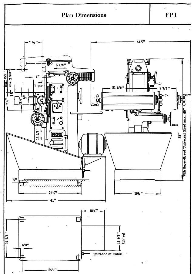 Deckel FP-1 dimensions